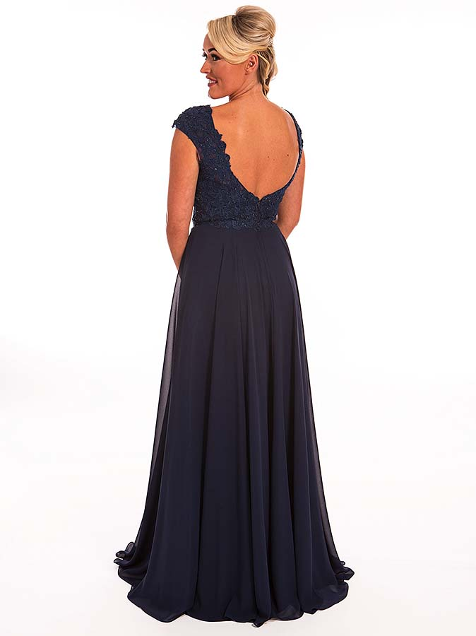 Midnight Blue Waterfall Prom Dress 77